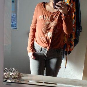 CAbi gray rockstar roll up skinny jeans